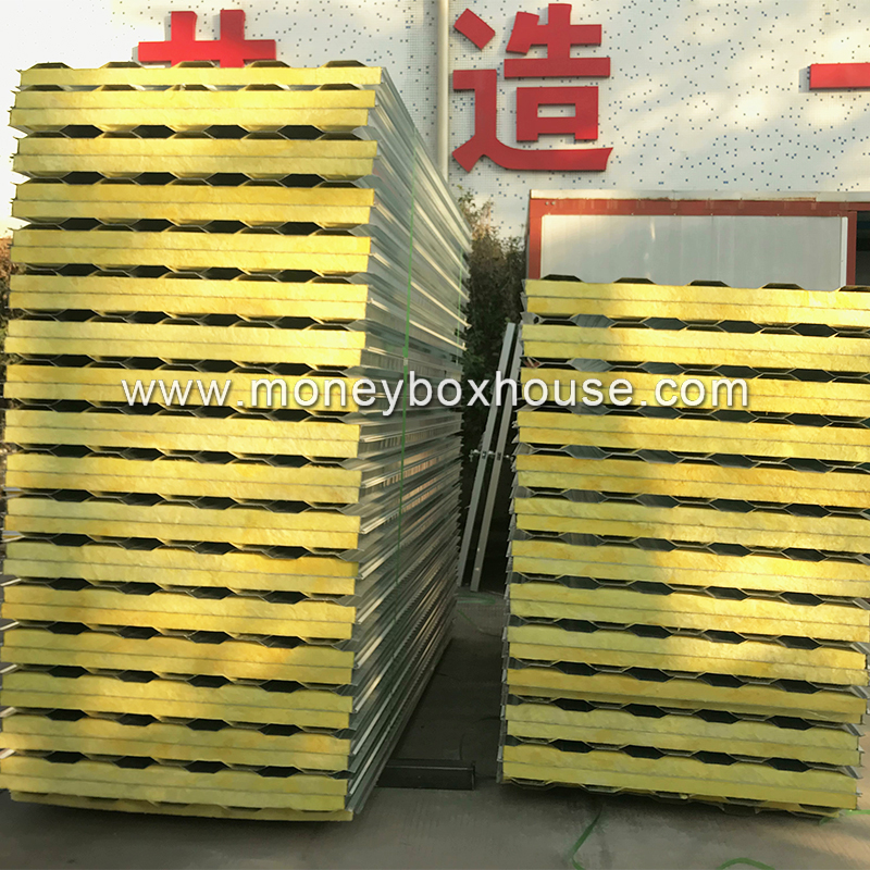 50mm glass wool sandwich panel insulated prefab house wall panel