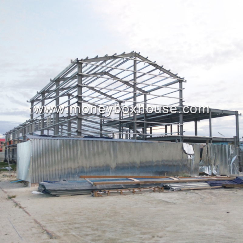Guangzhou factory cheap prefab steel frame structure building construction